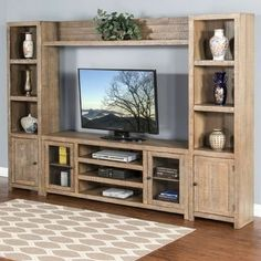 Awesome Entertainment Wall unit with 4 Doors and Open Shelving. Plenty of storage with a great contemporary look. Entertainment Center Furniture, Home Entertainment, Entertainment Centers, Entertainment Products, Morris Homes, Tv Cabinet Design, Living Room Tv Unit Designs, Cool Tv Stands, Home Furnishings