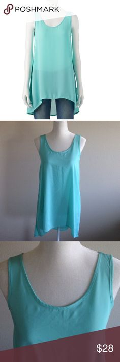 """BOGO DEAL 🔵Pink Republic Mint Top Sheer sleeveless mint top by pink republic. Hi- Low. Round scoop neck in the front and v neck in the back. 100 % polyester.  Approx Measurements laying flat Bust: 18 1/2"""" and length 29"""" front 33"""" back. Color best represents last 3 pictures. Pink Republic Tops Tank Tops"""