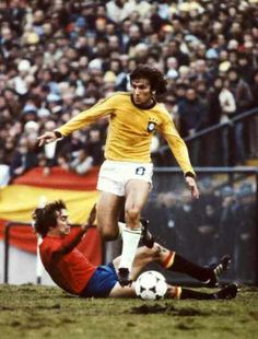 Brazil 0 Spain 0 in 1978 in Mar Del Plata. Zico shows the world his skills as he skins his marker in Group 3 at the World Cup Finals.