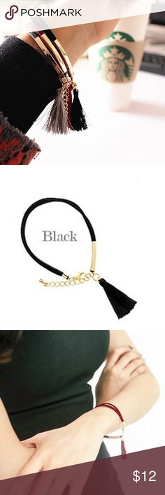 Spotted while shopping on Poshmark: 💟Black Synthetic Leather Tassel Bracelet💟! #poshmark #fashion #shopping #style #Jewelry