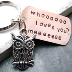 Owl Keychain Whooo Loves You Hand Stamped great gift by riskybeads, $14.95