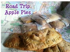 Road trip apple pies wrapped in wax paper and... maps!