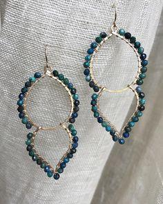 Goddess Earrings in Chrysocolla Wire Jewelry Earrings, Wire Wrapped Earrings, Crystal Earrings, Beaded Earrings, Boho Jewelry, Earrings Handmade, Beaded Jewelry, Jewelry Design, Wire Jewellery