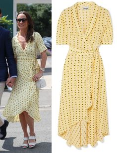 Ganni Floral crêpe midi wrap dress as seen on Pippa Middleton Pippa Middleton Style, Wrap Dress, Royalty, Celebrity, Floral, Clothing, Polyvore, Stuff To Buy, Outfits