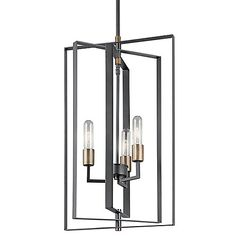 The Kichler Taubert Foyer Pendant presents a clean and straightforward piece with layered boxes that create an intriguing sense of depth. The bold two-tone finish aesthetic is a subtle nod to the Mid-Century Modern style, while still having a minimal composition overall. Three exposed bulbs illuminate from the center, creating a lit atmosphere with a sense of timeless style.