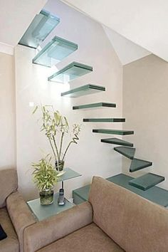 Clear glass stairs. Very interesting