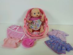 Baby Alive Hasbro 2006 Wet 'n Wiggle Baby Doll,Carrier,Clothes,Bowl,Spoon Lot #BabyAlive