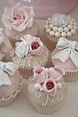 Luxury vintage cupcakes #Weddings #Pink #Roses #Pearls #Bows www.celebstyleweddings.com @Celebstyled