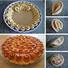 Crisantemo salato sfogliato Recipes to Cook Bread And Pastries, Bread Art, Bread Shaping, Puff Pastry Recipes, Creative Food, Finger Foods, Food Inspiration, Dessert Recipes, Food And Drink