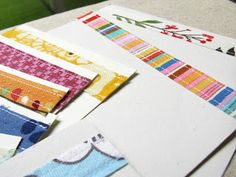 DIY: sew fabric selvage onto blank notecards for pretty stationery