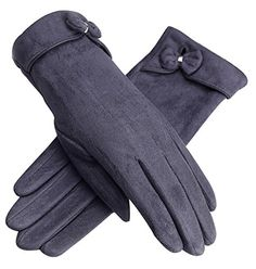 Urban CoCo Women's Elegant Vintage Warm Plush Lined Gloves (Grey) *** You can get additional details at the image link.