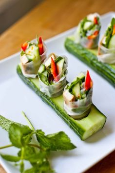 Spring Rolls with Tofu, Avocado, radish, peppers and Mint | Feasting At Home