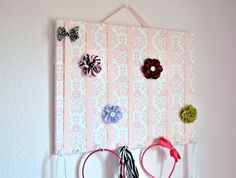 LARGE Pink and White Damask Hair Bow Holder Accessory Board Organizer With Hooks for Headbands. $26.00, via Etsy.