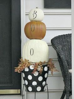 DIY Faux Polka Dotted Pumpkin Topiary ! Use Year After Year !