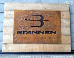 Business sign with sheet metal background - Google Search
