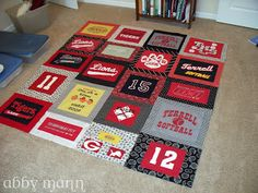 T Shirt Quilt Tutorial. Lots more work with each one on its own block I like this version.