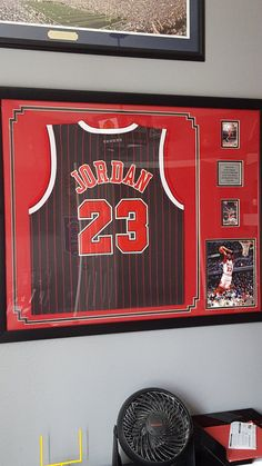 Still one of our most popular every week Framed Jersey, Team Gifts, Bag Patterns To Sew, Baskets On Wall, Crafts For Teens, Jordan Retro, Custom Framing, Wall Decals, Jordan Jersey