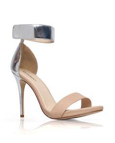 Colorblock Heel in Metallic & Tan
