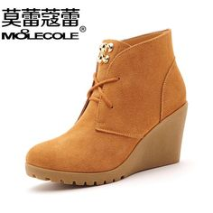 $54 Genuine Leather Women Ankle Boots 2015 New Arrival Spring Autumn Fahion Casual Flock Leather Metal Woman Wedge Boots Sxq0503 From Ygfdly4144, $52.62 | Dhgate.Com