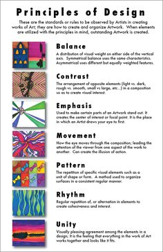 Elements and Principles of Design- Theory and practical Middle School Art, Art School, Principals Of Design, Arte Elemental, Art Doodle, Art Handouts, Art Basics, Elements And Principles, Elementary Art