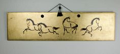 Vintage Asian Ink Brush Art Horse Sumi-E Gold Leaf Wall Hanging Mid Century Sumi E Painting, Gesture Drawing, Ink Illustrations, Animal Paintings, Gold Leaf, Mid Century, Asian, Horses, Drawings