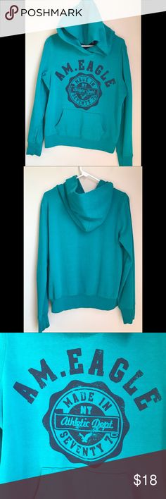 "✨EUC✨ American Eagle Hoodie American Eagle Hoodie *turquoise with brand emblem in dark navy *size large *22"" across *24"" long *19"" sleeves *EUC American Eagle Outfitters Tops Sweatshirts & Hoodies"