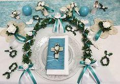 Tischdekoration Kommunion türkis Konfirmation mit Reigen Kreuzen und Kerzen  | eBay