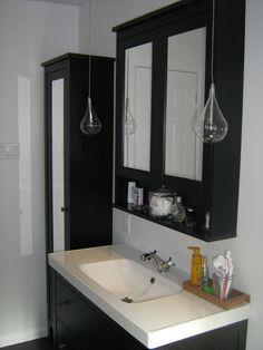 IKEA Hemnes sink cabinet, Hemnes high cabinet mirror door