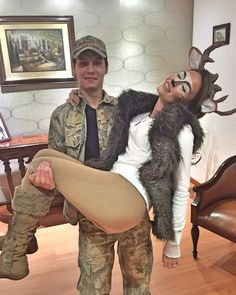 DIY Couples Halloween Costume Ideas - The Hunter and the Prey - Fun Deer and Cam. DIY Couples Halloween Costume Ideas - The Hunter and the Prey - Fun Deer and Camo Couples Costume Idea