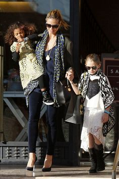 Love the blue scarf. from Heidi Klum in Beverly Hills | Tom & Lorenzo