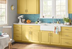 Whether you get a big area kitchen rug or a small one, you can really soften the look and create warmth in your kitchen. Modern Kitchen Cabinets, Modern Farmhouse Kitchens, Kitchen Paint, Modern Kitchen Design, Kitchen Countertops, Country Kitchen, Diy Kitchen, Kitchen Decor, Kitchen Ideas