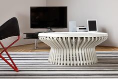 Designer table and electronic multi-media island of tranquility. Berlin interior