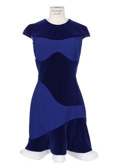 Alexander McQueen Dresses :: Alexander McQueen blue velvet and crepe dress | Montaigne Market
