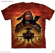 Native American Warrior Tribute Apache Helicopter T-Shirt