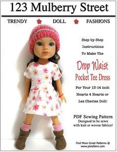 Drop Waist Pocket Tee Dress pattern for Hearts 4 Hearts or Les Cheries www.pixiefaire.com