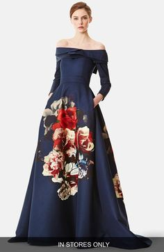 Carolina Herrera Floral Bouquet Portrait Collar Faille Gown (In Store Only) available at #Nordstrom