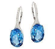 Ostro Royal Blue Topaz 11.00 ct tw Sterling Drop Earrings - J295095