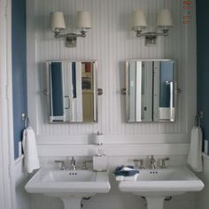 Two Pedestal Sinks In A Tight Space.