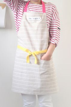 Women's Apron with Two Pocket Stripe Kitchen and by hyonmade