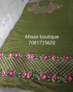 Embroidery Suits Punjabi, Hand Embroidery Dress, Embroidery Works, Embroidery Fashion, Border Embroidery Designs, Embroidery Suits Design, Embroidery Patterns Free, Machine Embroidery Designs, Sleeves Designs For Dresses