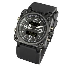 คุ้มค่าเมื่อซื้อตอนนี้<SP>INFANTRY Mens Digital Analog Wrist Watch Nite Alarm Square Tactical Black Rubber++INFANTRY Mens Digital Analog Wrist Watch Nite Alarm Square Tactical Black Rubber Series: INFANTRY SERIES Function: Alarm, Backlight, Chronograph, Date&Day Indicator, Luminous Hands, Multiple Time  ...++