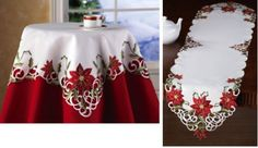 Embroidered Holiday Poinsettia Table Linens Square By Collections Etc