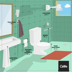 Ergonomia no banheiro: você sabia que existem distâncias ideais entre os equipamentos em relação ao chão? Confira a altura adequada de cada um deles.
