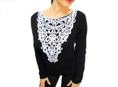 Black with Everything by Crystal Bark-Mills on Etsy Lace Necklace, Floral Necklace, Collar Necklace, Crochet Bib, White Statement Necklaces, Simply Fashion, Plain Tops, Personalized Christmas Gifts, Crochet Accessories