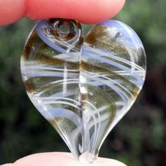 Heart Pendant Necklace Glass Jewelry Lampwork Hand by untamedrose, $25.00