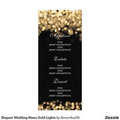 Elegant Wedding Menu Gold Lights Card