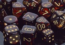 Scarab Blue Blood with gold dice from Chessex