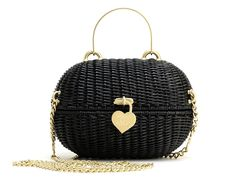 Chanel Black Straw Heart Closure Handbag