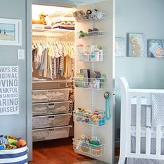 Standard closets are notorious for their inefficient use of space  thats even more painfully obvious when planning for a babys closet. Widely spaced shelves and closet rods leave a lot of wasted space when storing newborn clothing, baby gear and accessories. Follow these smart tips to create an easy to use baby closet.