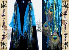 MERMAID fairy PEACOCK FEATHER yarn hair falls Tassels for hip scarf & wrap skirt Fantasy reenactment Tribal Fusion Belly Dance costume Larp